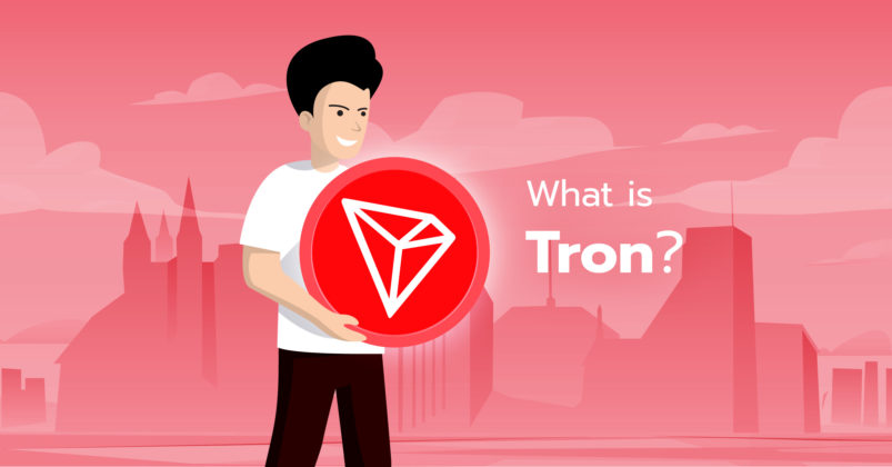 Illustration of a guy holding a tron logo.