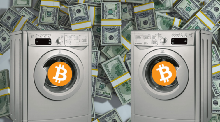 bitcoin logo in the laundry machine with background in dollar