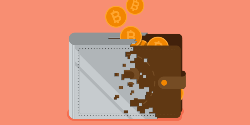 half leather half digital wallet with bitcoin logos and mango background