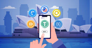 Illustration of a phone surrounded by 6 stablecoins above it backdropped by the sydney opera house to illustrate the topic of buy stablecoins in Australia.
