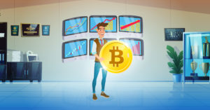 Illustration of man holding bitcoin to illustrate the topic of crypt arbitrage