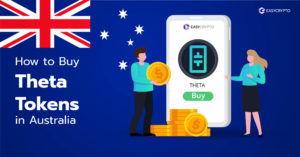 Illustration of a phone screen with the Theta Token (THETA) logo on it backdropped by the Australian flag.