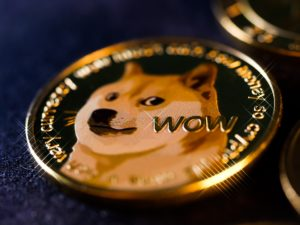 Close up photo of a physical dogecoin.